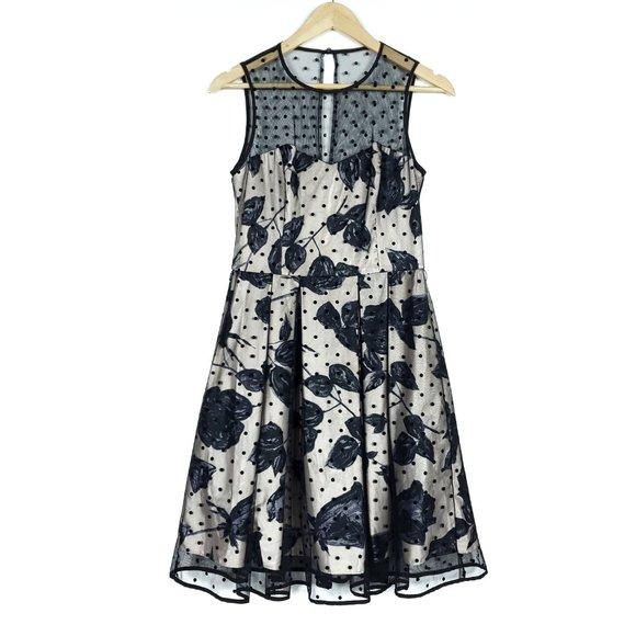 Eliza J Womens Dress 8 Black Beige Floral Mesh Sheer Crew Neck A-Line Pockets